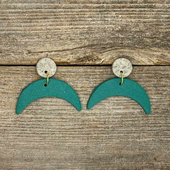 Crescent Moon Stud Earrings  Polymer Clay Earrings  Handmade  Mother/'s Day Gift  Anniversary