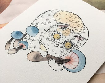 Blue Mushroom Cat with Gold Eyes -5x7 print
