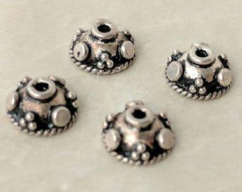 Sterling Silver Bali Style Bead Caps, 9mm Components, Packet of 4 Round Sterling Silver Bead Caps, Antiqued Granulated Destash Bead Caps