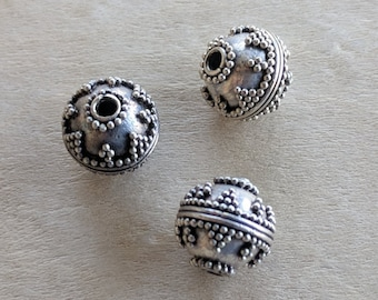 Sterling Silver Bali Style Beads, 9mm Components, Packet of 3 Round Sterling Silver Beads, Antiqued Granulated Destash Sterling Silver Beads