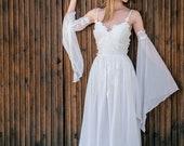 KRISTI Bohemian Beach Summer Wedding Dress For Brides, Lace & Chiffon Bell Sleeve Boho Bridal Dress, White Lace Grecian Long Wedding Dress