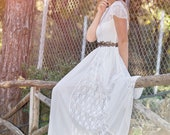 Adalina Handmade Wedding Dress, Bohemian Wedding Gown, Boho Bridal Dress, Long Wedding Dress, Hippie Ivory Lace Wedding Dress by SuzannaM