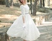 Handmade 50s Wedding Dress, Cream Lace Wedding Dress, Lace Wedding Gown, Lace Bridal Dress, Vintage Wedding Dress, Ivory Short Wedding Dress