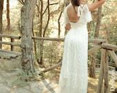 Boho Beach Ivory Lace Tulle Wedding Dress, Bohemian Long Bridal Dress, Gypsy Summer Wedding Dress, Boho Wedding Dress, Wedding Hippie Gown