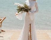 VIRGINIA High Neck Mermaid Lace Wedding Dress Bohemian, Open Back Wedding Deress, Beach Boho Wedding Dress, Cotton Lace Wedding Brides Gown
