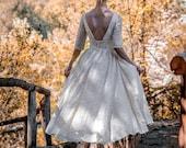 Cream Ivory 50s Wedding Dress, Full Skirt Bridal Dress Original 50s Style Bridal Dress, Lace Tea Length Dress - Handmade by SuzannaM Designs