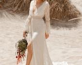 MELANIA V Open Back  Long Sleeve Wedding Dress, Bohemian Wedding Deress Beach Boho Wedding Dresses Long Train, Alternative Wedding Lace Gown