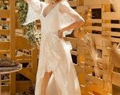 JOLANDA Boho Wrap Skirt French Lace Wedding Dress, Bohemian Open Back Ari Wedding Deress, Ivory Boat Neck Beach Boho Wedding Dresses Sexy