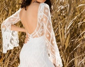 RAMONA French Lace Wedding Dress, Bohemian Open Back Wedding Deress, Beach Boho Wedding Dresses Long Train, Alternative Wedding Gown Bridal
