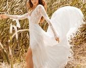 LUCITA Boho Wrap Skirt French Lace Wedding Dress, Bohemian V Neck Ari Wedding Deress, Ivory Nude Hippie Beach Boho Bride Sexy Wedding Dress