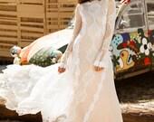 YESENIA Long Sleeve Wedding Dress Bohemian Open Back Wedding Deress, Beach Boho Wedding Dresses Long Train, Alternative Wedding Brides Gown