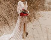 MADALENA V-Neck Lace Wedding Dress Bohemian Long Sleeve Wedding Deresses, Beach Boho Wedding Dresses Long Train, Sexy Wedding Mermaid  Gown