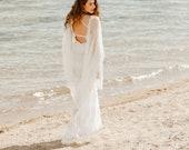 MICHELANGELA Bat Sleeve Lace Net Wedding Dress, Bohemian Wedding Deress Beach Boho Wedding Dresses Long Train, Alternative Wedding Lace Gown