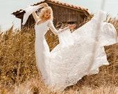FIORELLA Bell Sleeve Wedding Dress Bohemian Open Back Wedding Dress, Beach Boho Wedding Dresses Long Train, Alternative Wedding Gown Bridal