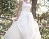 Silk Dupioni Lace Long Ivory Wedding Dress, Romantic Bridal Gown Princess Wedding Dress, Boho Dresses Handmade Vintage Gown SuzannaM Designs