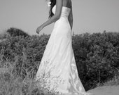 Champagne Off Shoulder Net Wedding Dress For Beach Wedding Dresses, Leaf Patern Net Modern Bridal Boho Dress- Handmade By SuzannaM Designs