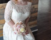 Short 50s Ivory Lace Wedding Dress, Sleeve Bridal Dress Open Back Dress, Vintage Bridal Dress, Lace Wedding Gown, Handmade SuzannaM Designs