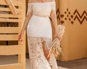 OTTAVIA Two Piece Sexy Wedding Dress, Skirt Top 2 Piece Bohemian Wedding Dress, Chantilly France Lace Off the Shoulders Boho Bridal Dresses