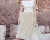 50s Wedding Dress Tea Length Bridal Gown, Ivory Cream Cotton 50s Wedding Gown, Lace Wedding Dress,Tea Length Lace Tulle Short Bridal Dresses