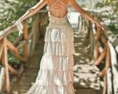 Blush Pink Lace Bohemian Wedding Dress Bridal Wedding Gown, Blush Boho Ruffle Bridal Dresses For Beach Wedding, Handmade by SuzannaM Designs