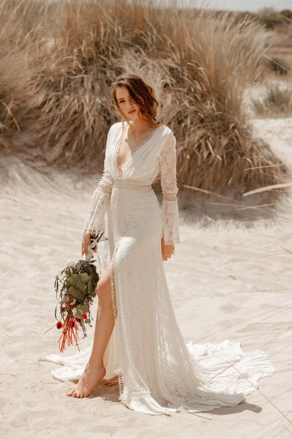 Melania V Open Back Long Sleeve Wedding Dress Bohemian Etsy