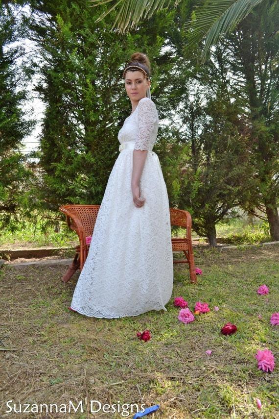 SuzannaM Wedding Designs Wedding 50s by Vintage Wedding Dress Long Handmade Dress Sleeves Long Gown 7TxqZf