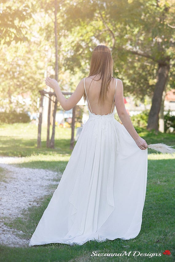 SuzannaM Gown Lace Bridal Dress Chiffon Long Dress Back Wedding Dress Wedding Long Wedding Open Gown Dress Wedding Noemi Bridal 56nYFq