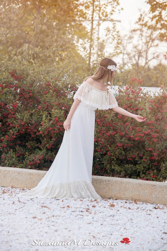Gown Dress Bridal Dress SuzannaM Wedding Lace by Dress Wedding Boho Dress Long Bohemian Boho Handmade Wedding Bohemian Long Dress qpxdWw1gYW