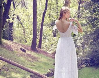 Boho Wedding Dress, Bohemian Bridal Gown, Long Wedding Dress, Gypsy Bridal Gown, Lace Wedding Gown, Ivory Gown, Handmade by SuzannaM Designs