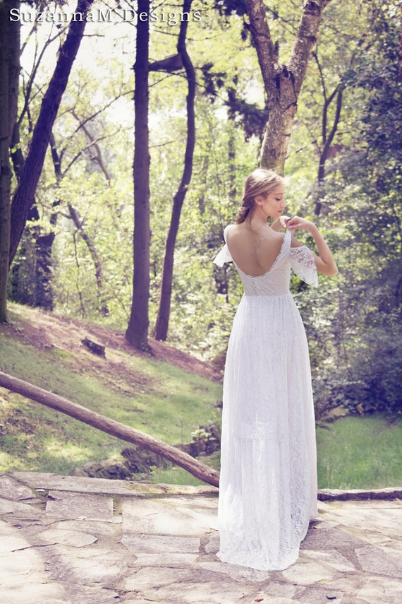 Boho Wedding Dress Bohemian Bridal Gown Long Wedding Dress ...