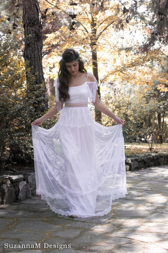 Lace Wedding Dress Boho Wedding Dress Tulle Wedding Dress ...