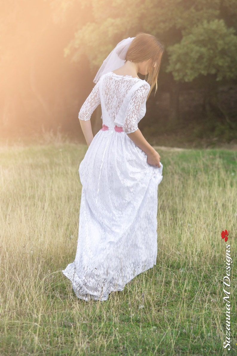 Boho White Lace Wedding Dress Bohemian For Brides Simple White Long Wedding Dress 3 4 Sleeve Bridal Dress Long Vintage Style Boho Wedding