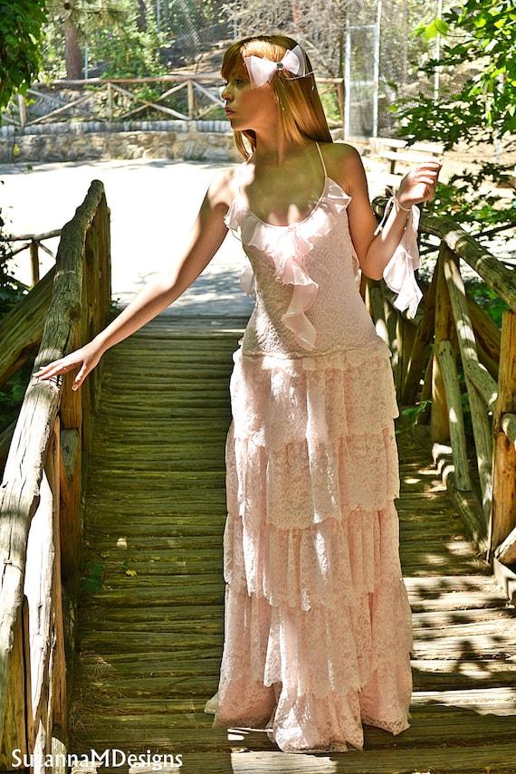 Designs Gown SuzannaM by dress Bridal Wedding Wedding Pink Lace Handmade Dress Blush Wedding Bohemian 6xzBqAwAO