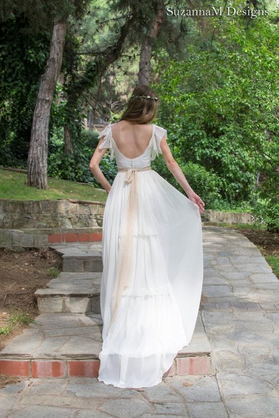 Bridal Dress Gown Long Dress Gown Wedding Gypsy Dress Bridal Long Boho Bohemian Gypsy Bridal Dress Wedding SuzannaM Ivory Wedding PwOq87