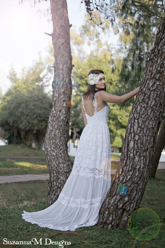 Designs SuzannaM Long Boho Wedding Gown Dress Bohemian Dress White Dress Wedding White Dress Lace Wedding Wedding Wedding Bridal Dress U1wqUg