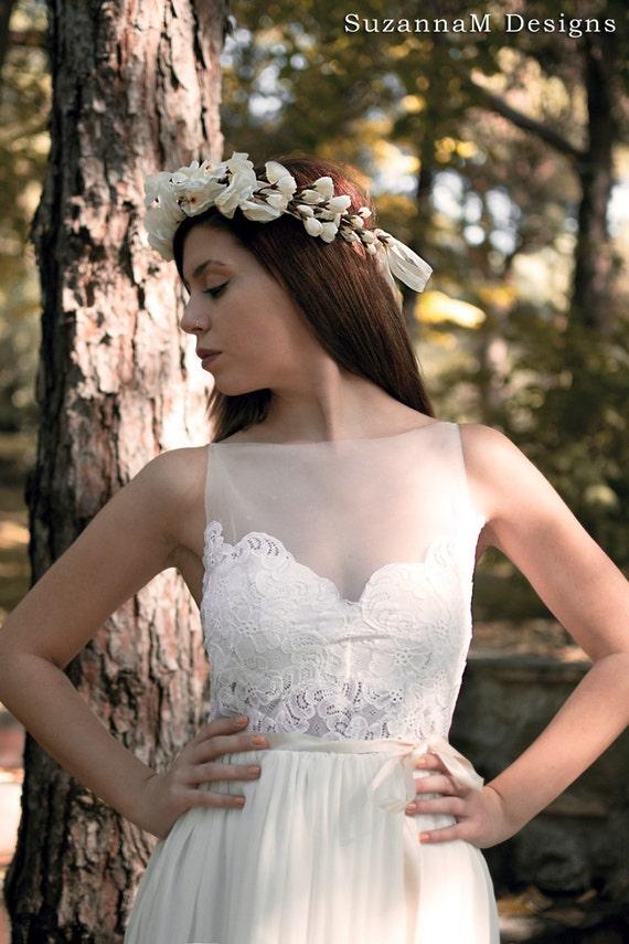 Long Boho Designs Dress Gown Bridal Wedding Wedding Dress Bohemian Unique Gown Gown Gypsy SuzannaM Ivory Wedding Dress Dress Wedding 6xwP60UIq4