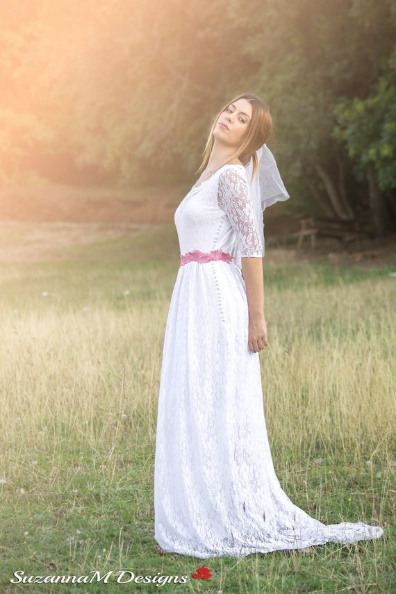 Wedding Dress Lace Dress Wedding Dress Boho Long Wedding Dress Vintage Wedding Wedding Dress White Wedding Dress Sleeve Simple Wedding gwdvvx
