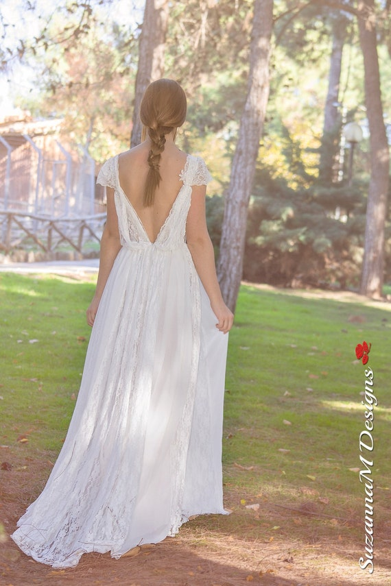 Lace Long SuzannaM Dress Ivory Dress Wedding Gown Ivory Dress Lace Gown Dress Designs Monique Bridal Wedding Boho Bohemian Wedding FqFEROZwrx