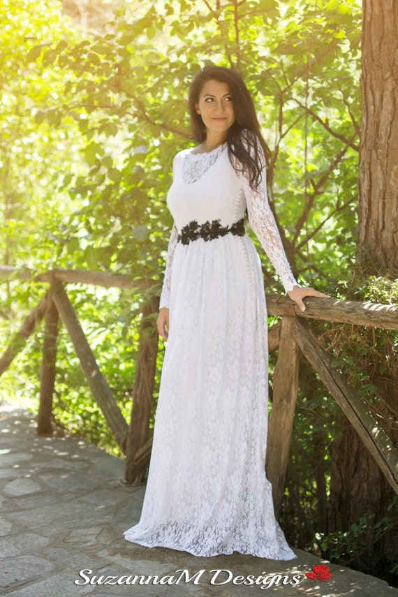 Gown Long Dress Gown Wedding Dress SuzannaM Designs Handmade Sleeve Wedding Lace Wedding Long Romantic By Lace Wedding White UvzEqw