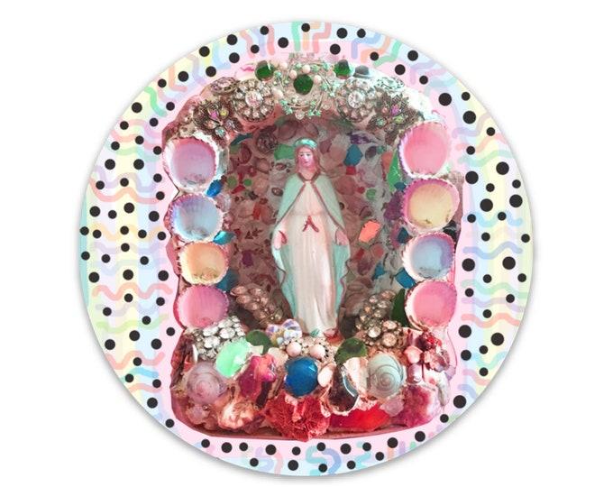 Virgin Mary Grotto vinyl sticker
