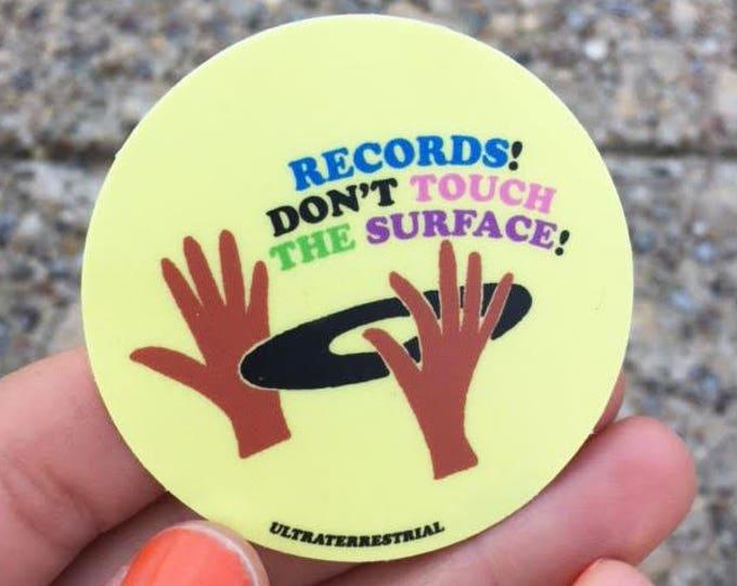 "Records Dont Touch 2"" weatherproof sticker vinyl music dj"