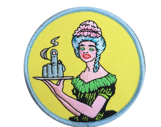 patch Middle Finger Waitress large iron-on embroidered patch