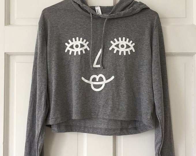 SMILE gray cropped hoodie