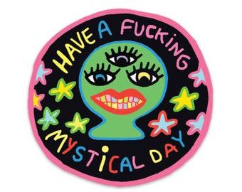 Mystical Day round weatherproof sticker