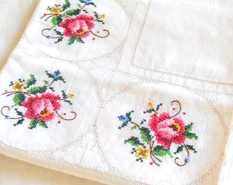 cross stitch tablecloth embroidered tablecloth vintage off white tablecloth floral tablecloth blue and red tablecloth shabby chic