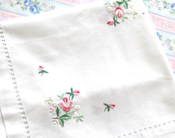 pink floral tablecloth vintage white tablecloth floral tablecloth vintage tablecloth pink roses shabby chic