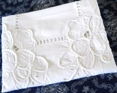 embroidered vintage tablecloth vintage white tablecloth white floral tablecloth crocheted lace french tablecloth french vintage