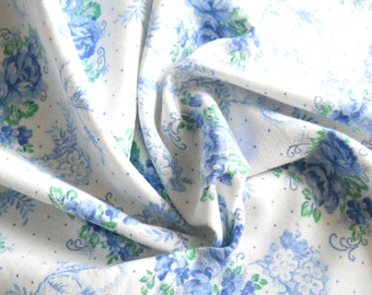 blue roses fabric french vintage fabric vintage cotton fabric floral fabric quilting fabric blue roses 192