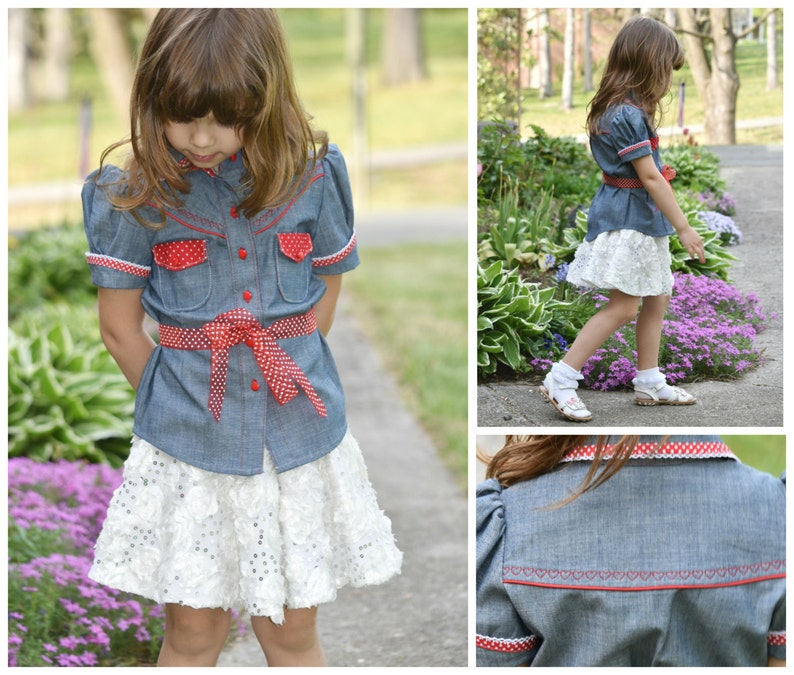 Girls Blouse Western Style PDF Sewing Pattern button up image 0
