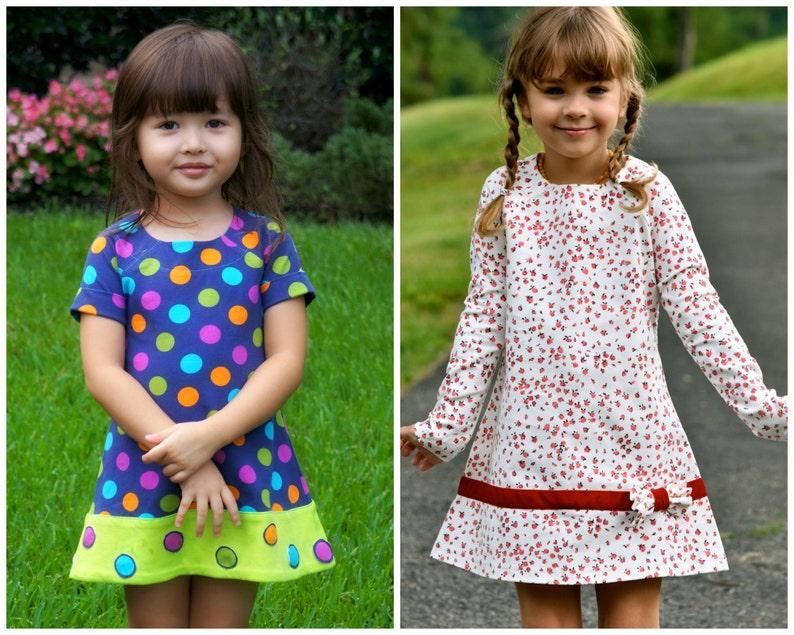 Easy Girls Dress PDF Sewing Pattern  A Line Dress  Raglan image 0